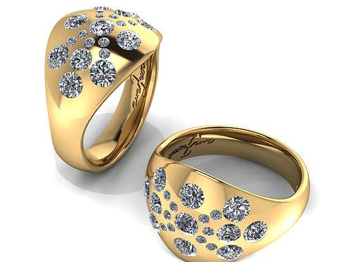 18ct Yellow gold round brilliant diamonds flush set dress ring