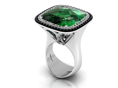 18ct White gold cushion cut emerald with halo of black & white diamonds