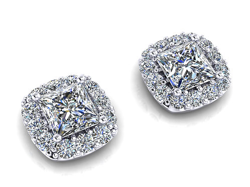 cushion diamond studs