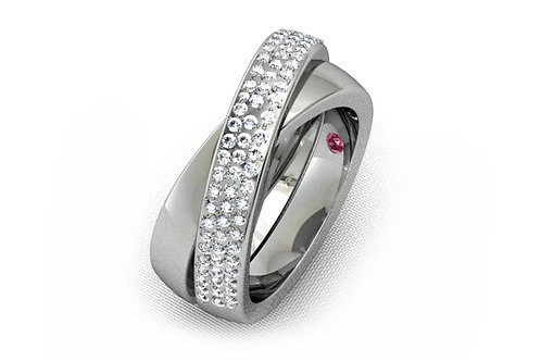 18ct White gold pave diamond set crossover ring