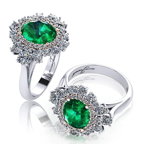 18ct White gold round brilliant emerald ring with halo of diamonds