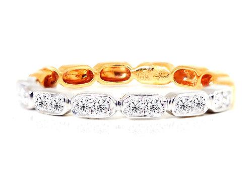 18ct Rose and white gold diamond wedding band