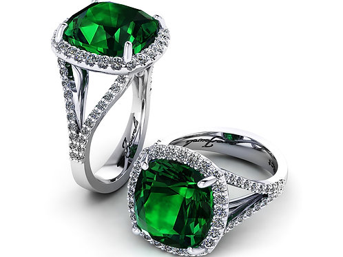 18ct White gold cushion cut emerald diamond halo ring