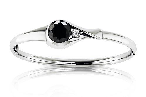 white gold black diamond bangle