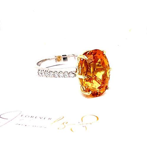 Diamond Halo Citrine Ring