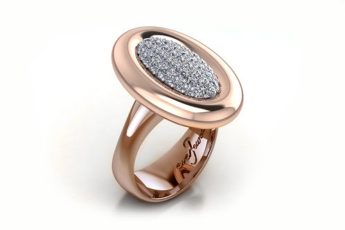 9ct Rose gold oval shape pave diamond ring