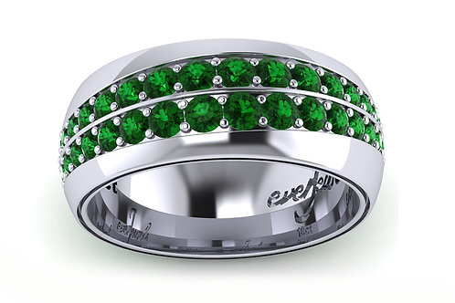 18ct White gold round emerald grain set ring band