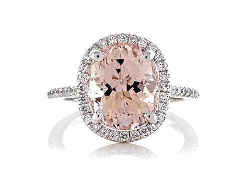 18ct White gold oval pink morganite halo ring