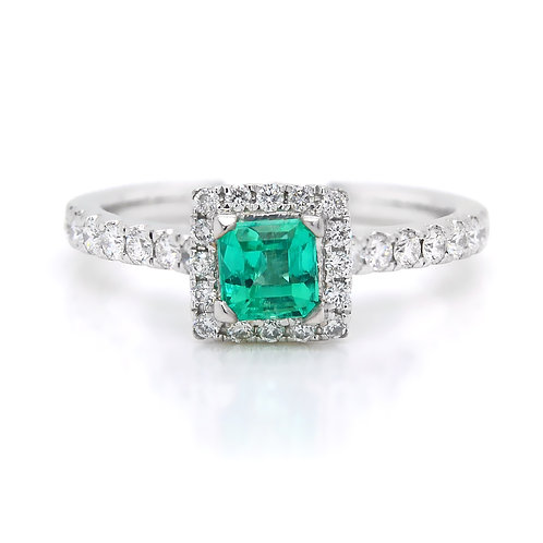 Princess Cut Emerald Ring with a Halo of Diamonds