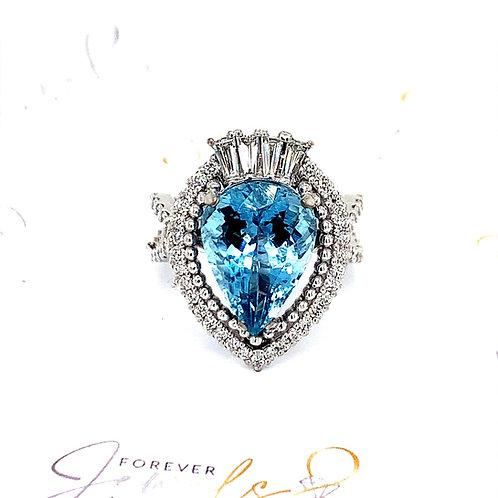 Pear shaped Aquamarine and Diamond Halo Ring
