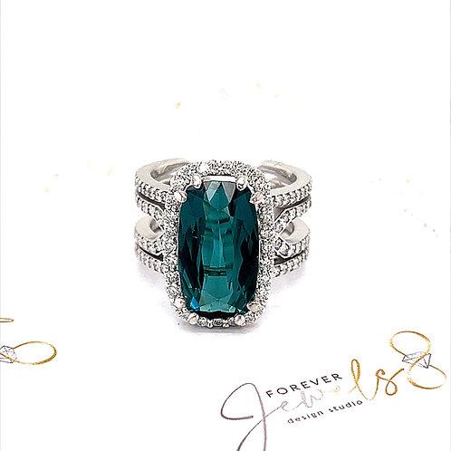 Blue Tourmaline and Diamond Halo Ring
