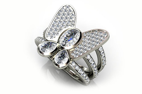 18ct White Gold Ring with Butterfly