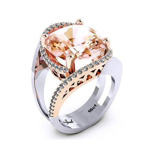 18ct White and rose gold cushion cut morganite dress ring