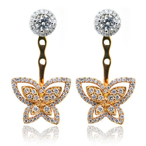rose gold butterfly earrings