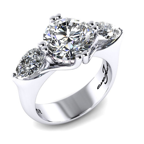 Round Brilliant Diamond Engagement Ring with Two Pear Cut Diamonds