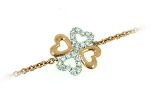 18ct White & Rose Gold Diamond Heart Bracelet