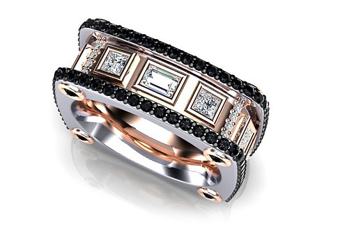 18ct White & Rose Gold Band Baguettes Diamond