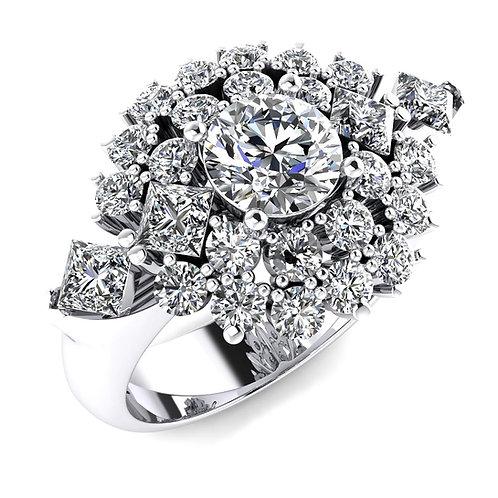 Snowflake Diamond Design Engagement Ring