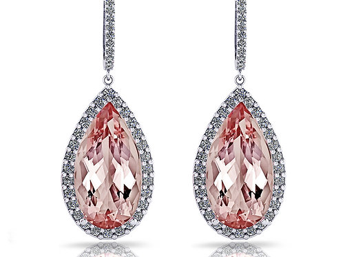 Pear cut morganite drop earrings with a halo of diamonds