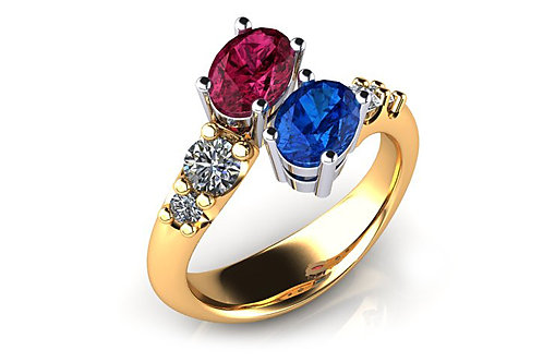 18ct Yellow gold blue and red oval sapphire ring with diamonds