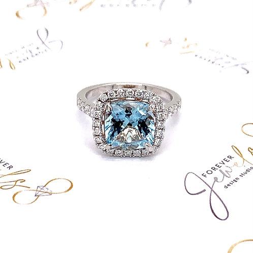 Aquamarine and Diamond halo Engagement Ring