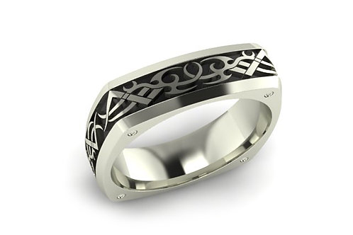 18ct White gold designer gents ring with black rhodium