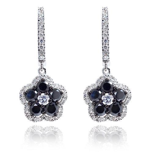 black and white diamond flower earrings
