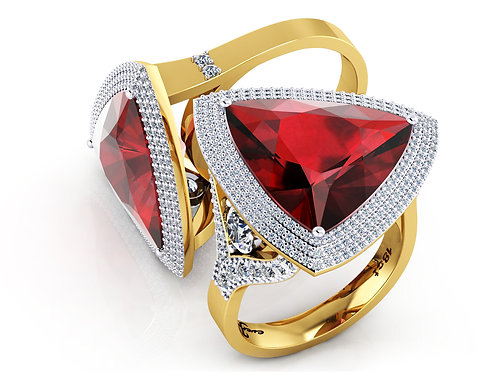 18ct Yellow gold trilliant cut ruby dress ring with pave halo diamonds