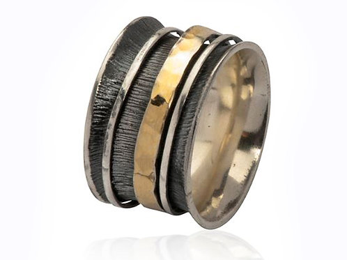 Israel designer dress ring in sterling silver and yellow gold
