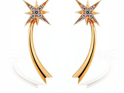rose gold diamonds star earrings
