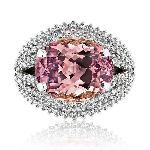white gold cushion cut pink tourmaline ring