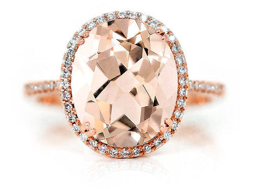 18ct Rose gold Morganite with a halo of diamonds