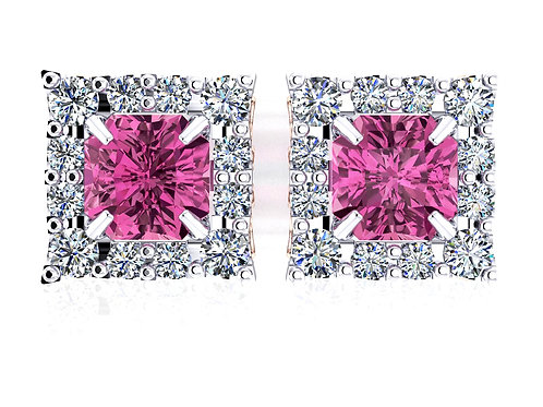 18ct White gold brilliant octagonal master cut pink spinel diamond halo studs