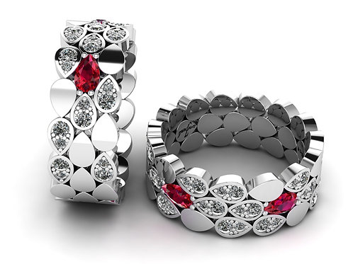 18ct White gold pear cut ruby dress ring with diamonds