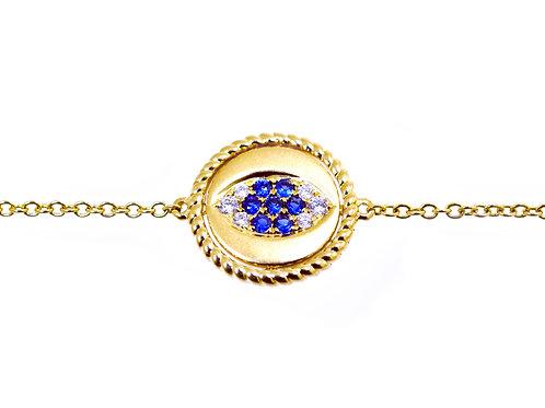 evil eye bracelet yellow gold