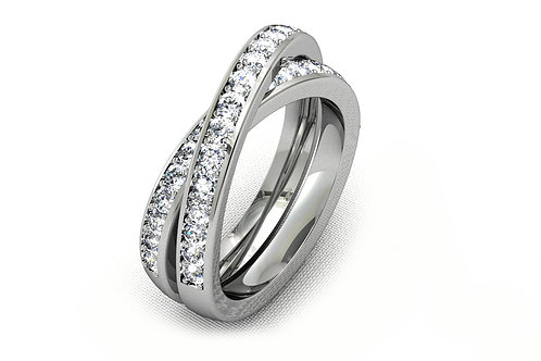 18ctWhite gold round brilliant diamond crossover wedding band