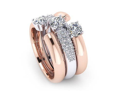 white and rose gold cluster rings