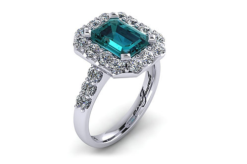 18ct White gold blue tourmaline diamond halo ring