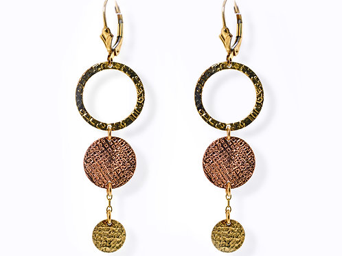 Israel designed 14ct Rose and Yellow gold drop earrings