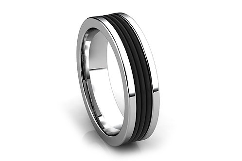 18ct White gold & black rubber gents ring