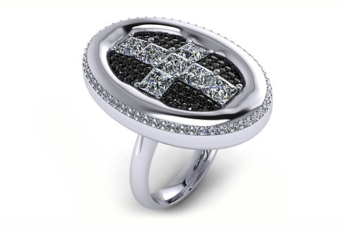 white gold dress ring with black and white diamonds