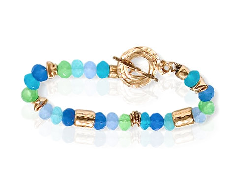 Israel designer bracelet in 14ct gold, sterling silver and jade stones