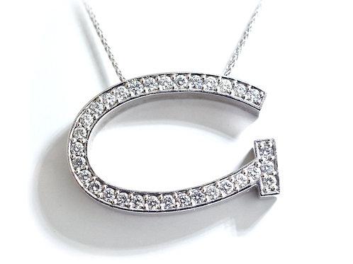 18ct White gold round brilliant diamond initial pendant