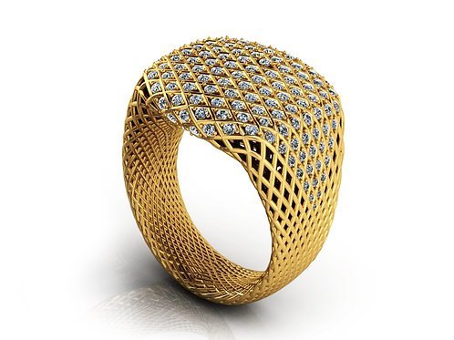 Yellow gold pave diamond ring
