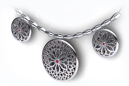 18ct White gold filigree necklace with precious stones