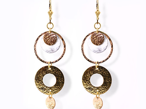 Israel designed 14ct Yellow and rose gold earrings