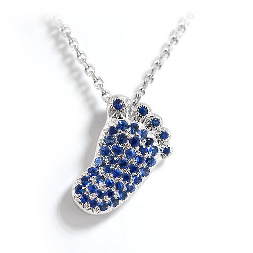 White Gold Blue Saphire Baby Foot Pendant