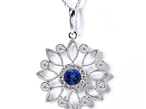 round blue sapphire flower pendant with diamonds