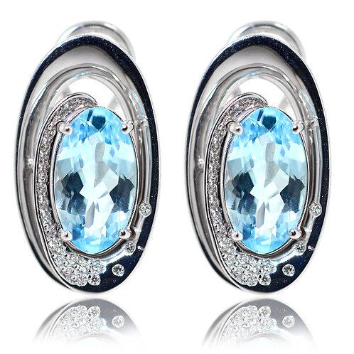 oval aquamarine white gold earrings
