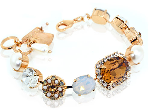 18ct Rose gold plated autumn colour Swarovski crystal and stone bracelet